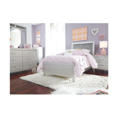 youth bedroom with white furniture set
