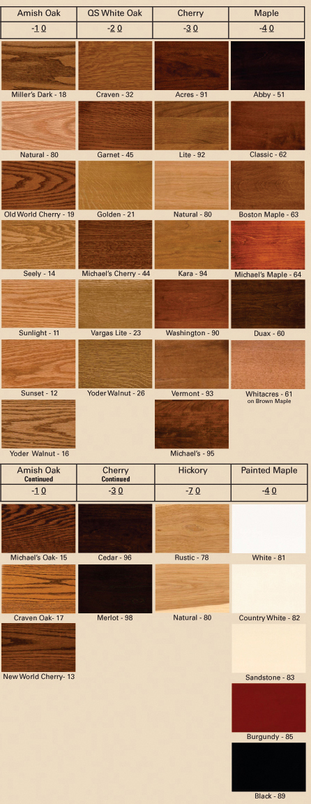 Wood And Finish Color Options