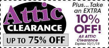 Take an Extra 10% Off Attic Clearance