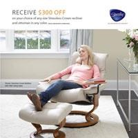 Receive $300 Off Stressless Crown Recliner and Ottoman