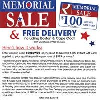 memorial sale coupon and free delivery details