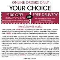 $!00 Coupon or Free Delivery