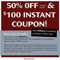 50% Off Compare at price and $100 Instant Coupon!