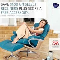 Save up to $500 on Stressless Recliners