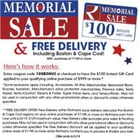 Memorial Sale with Up to $300 Gift Card and Free Delivery!