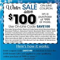 Take $100 off your qualifying purchase of $999 or more during the Winter Sale