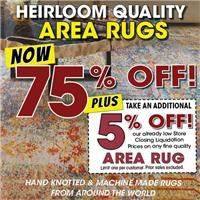 Limited time offer! 75% Off Fine Area Rugs plus Take an additional 5% Off when you mention this ad.