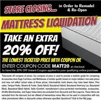 Take an extra 20% off qualifying mattresses with coupon code MATT20 at check out
