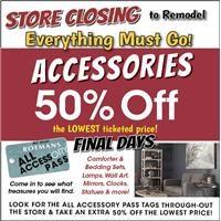 All accessory pass tagged items now take an extra 50% OFF!