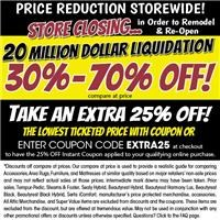 Store Closing to remodel 30%-70% off compare at prices plus take 25% off with coupon!