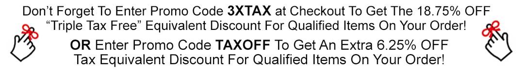 3XTAX & TAXOFF Promo Code Reminder Banner