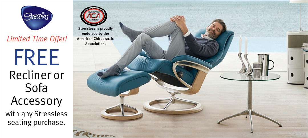 FREE  Recliner or Sofa  Accessory  with any Stressless seating purchase.