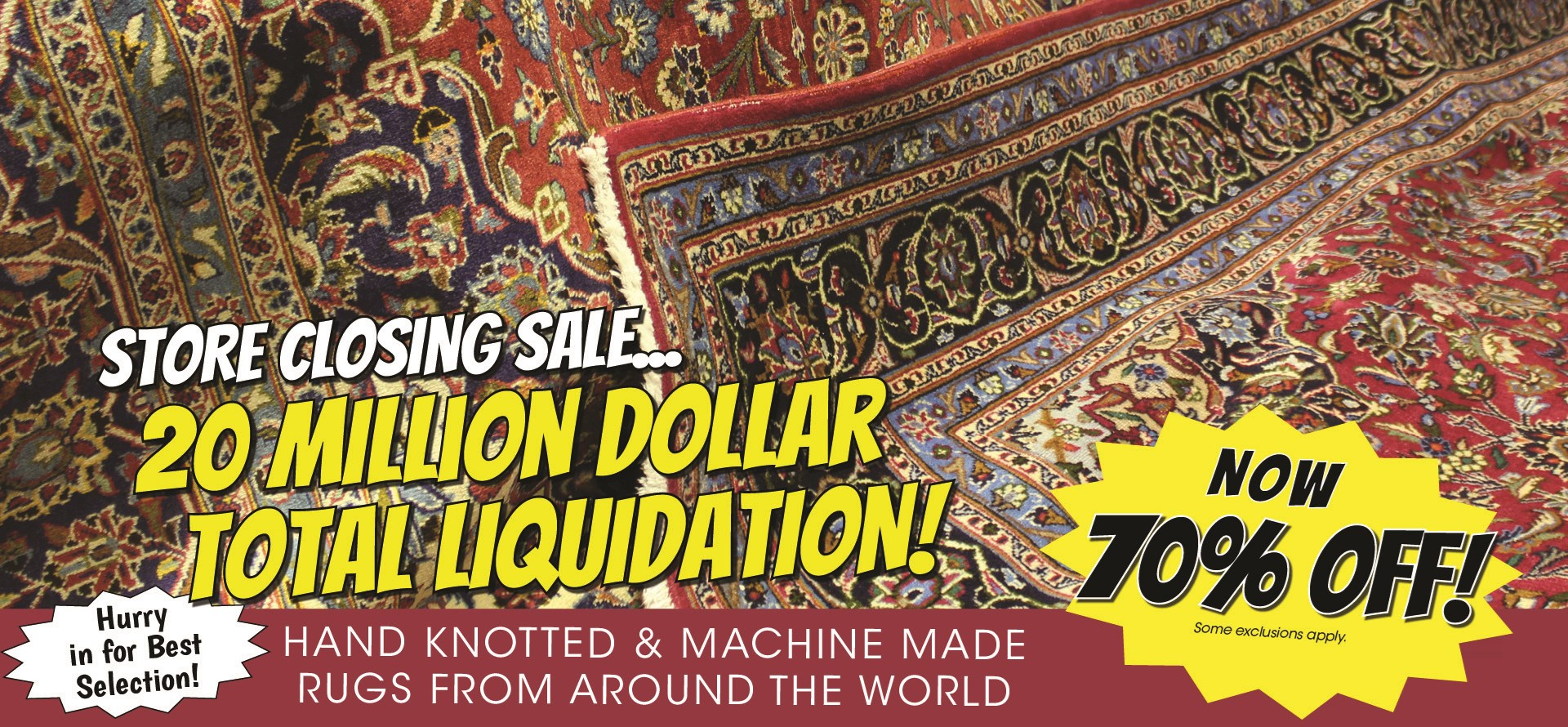 Store Closing Sale! Take 65% Off in the Fine Rug Gallery