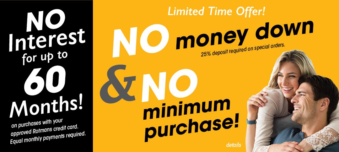 No interest for 60 months with No minimum and no deposit