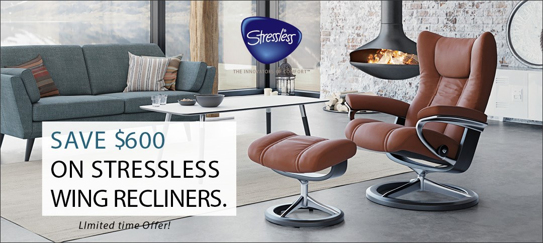 Save $600 on Stressless Wing Chairs