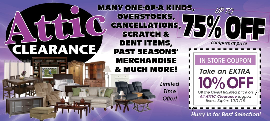 Take an Extra 10% Off Attic Tagged Merchandise in store only