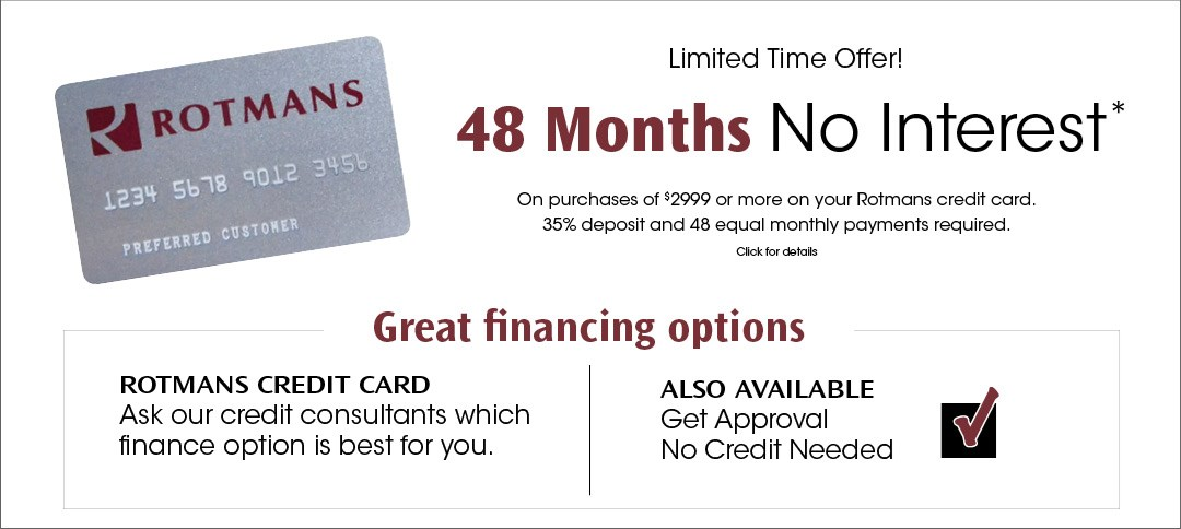 48 Months No Interest or No Credit needed option
