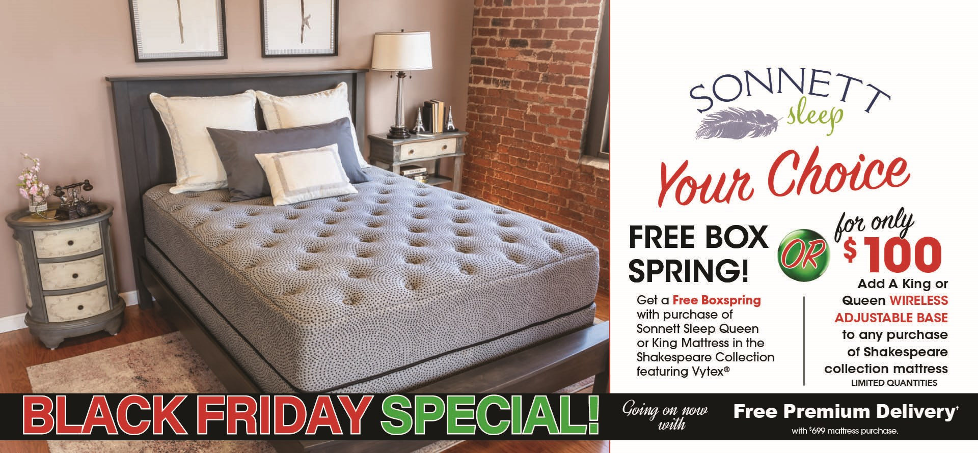 Black Friday Free Boxspring on Sonnett Shakespeare Collection Mattresses