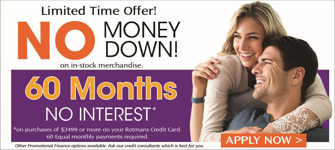 60 Months No Interest with No Money Down