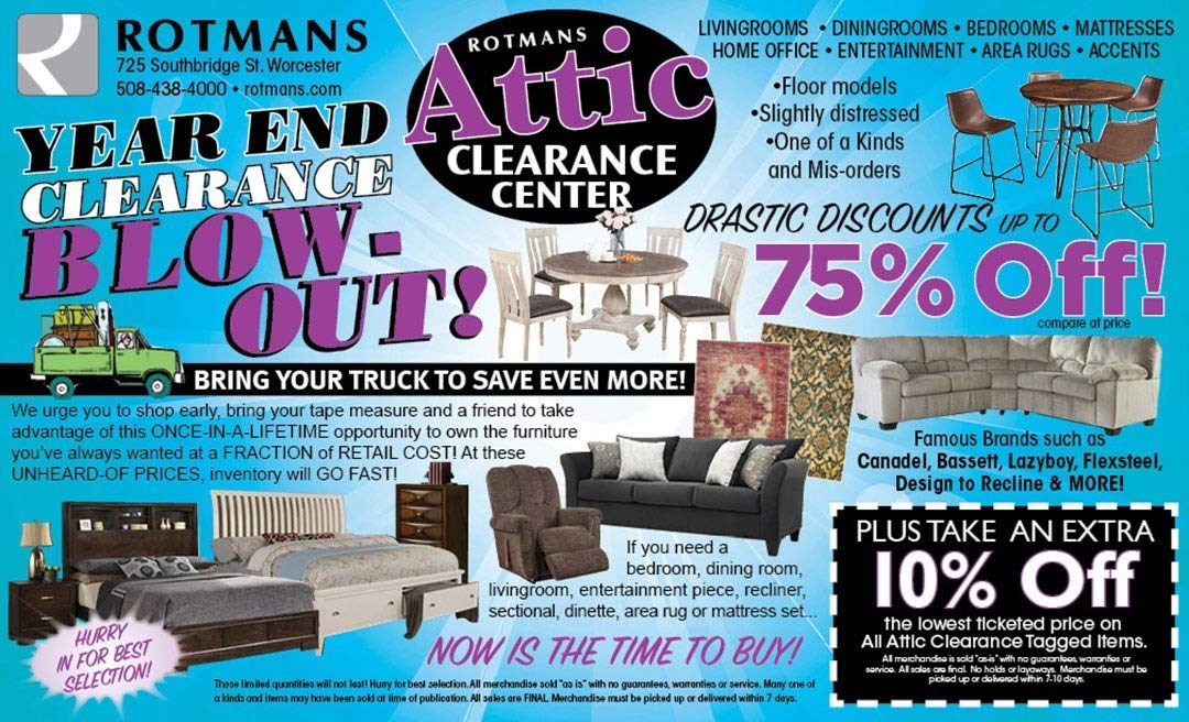 Rotmans Attic Clearance Blowout Event