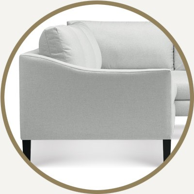 sloped chair arm