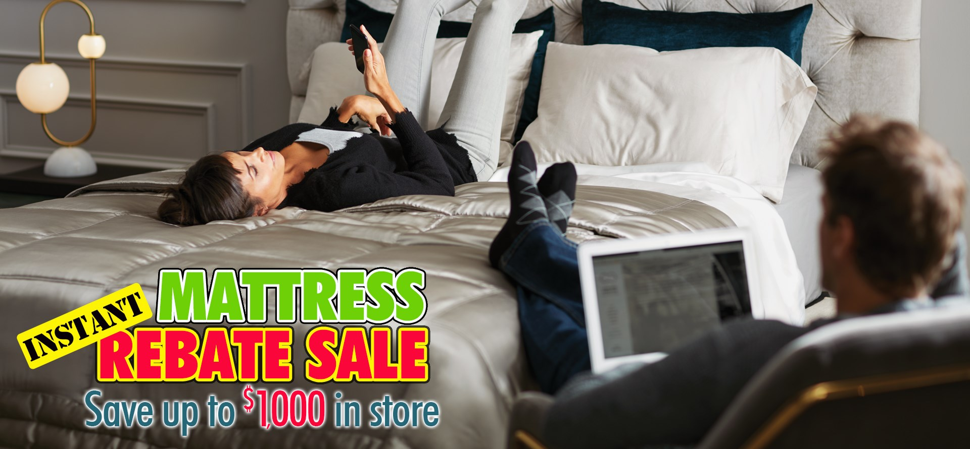 The Mattress Instant Rebate Sale is going on now. Save up to $1000 in store.