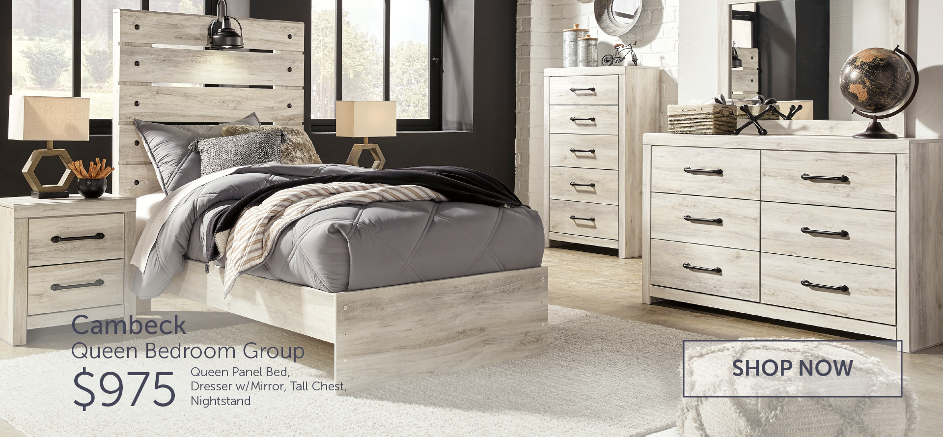 b192 queen panel bed, dresser/ mirror, tall chest and nightstand
