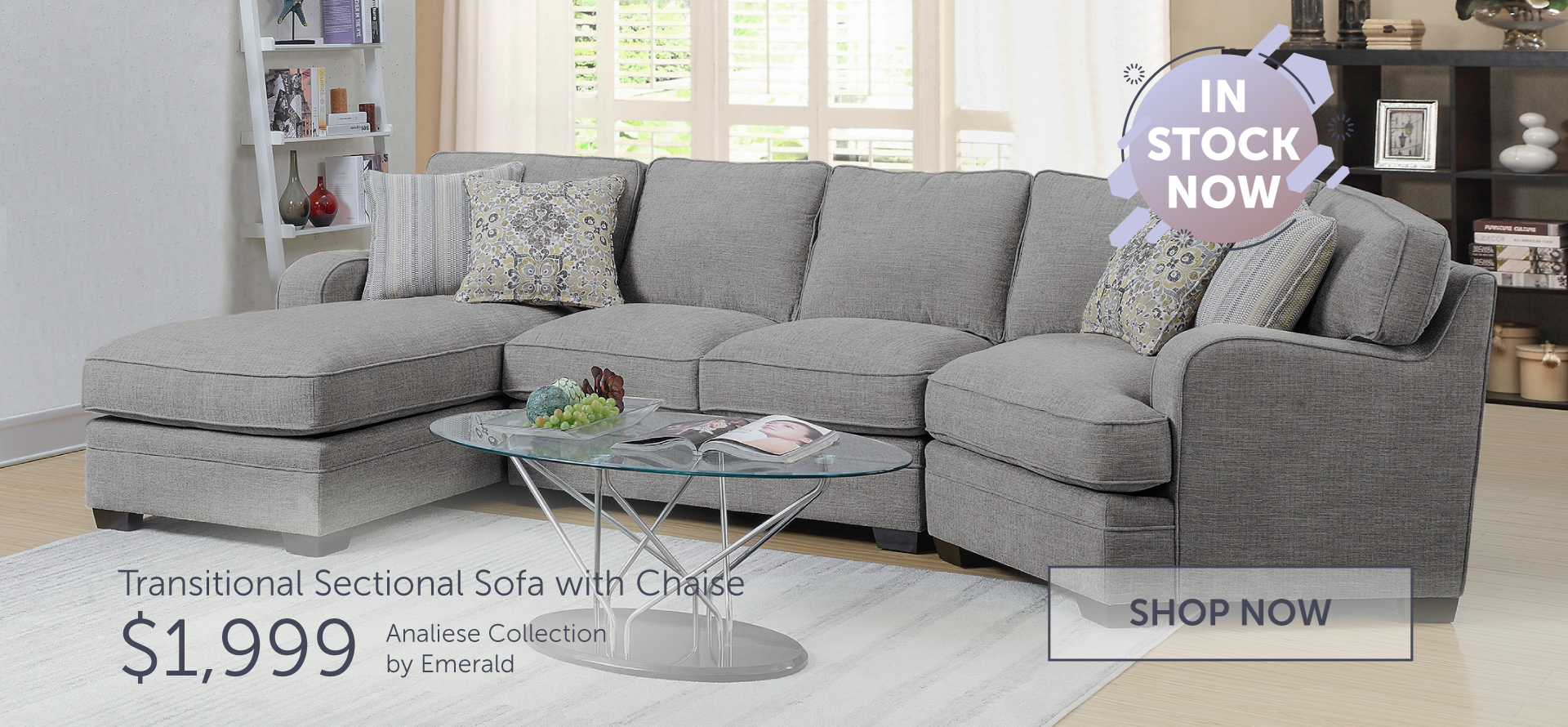 Emerald transitional sectional sofa with chaise