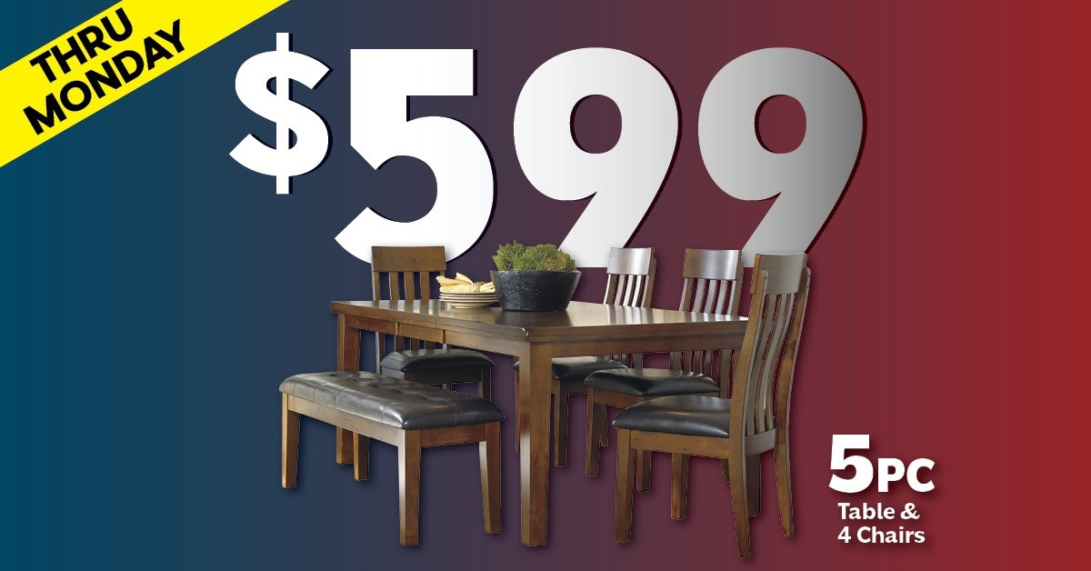 5 piece table and chairs $599