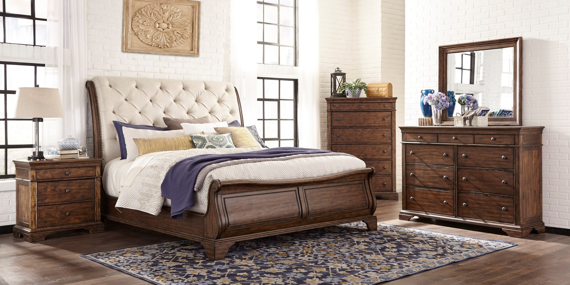 Sleigh Bed with Tufted Headboard