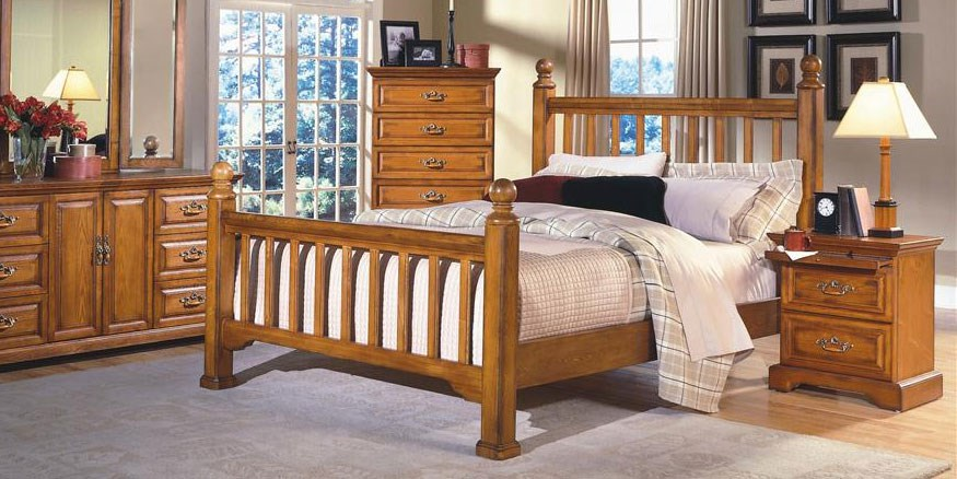 Rustic low poster bed