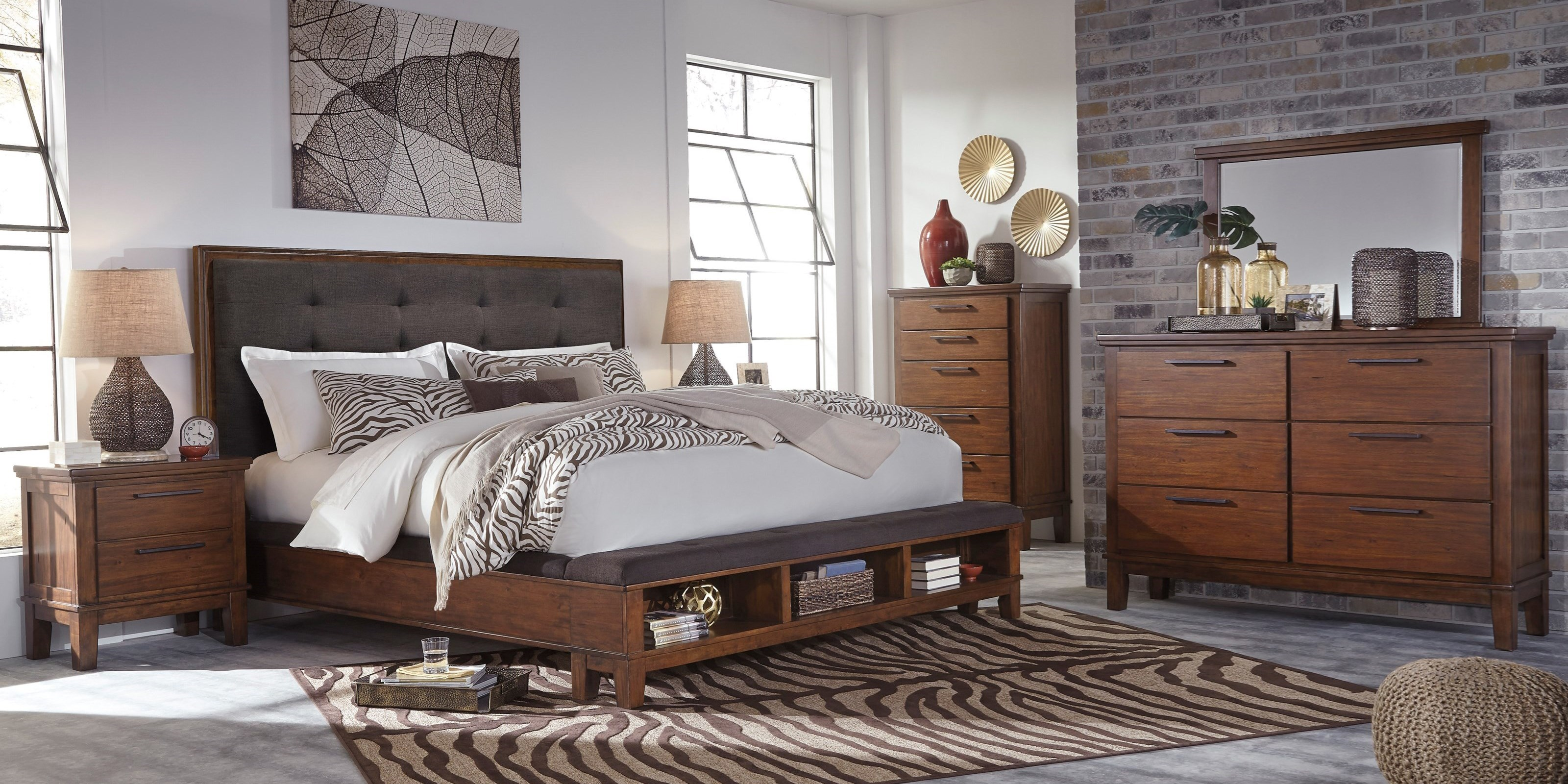 Upholstered bed with bench