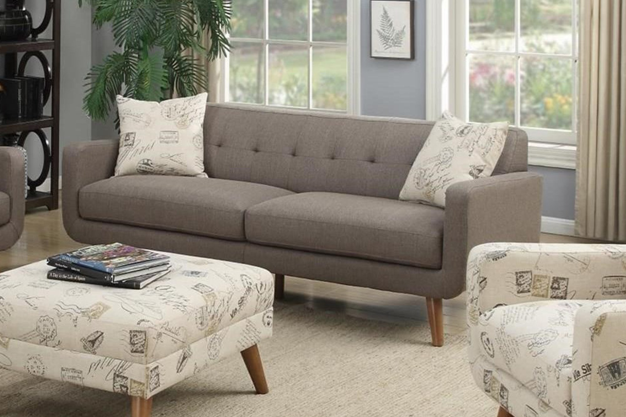 Grey Mid-Century Modern Sofa