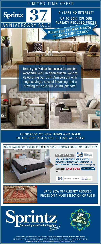 sprintz furniture current furniture promotions nashville