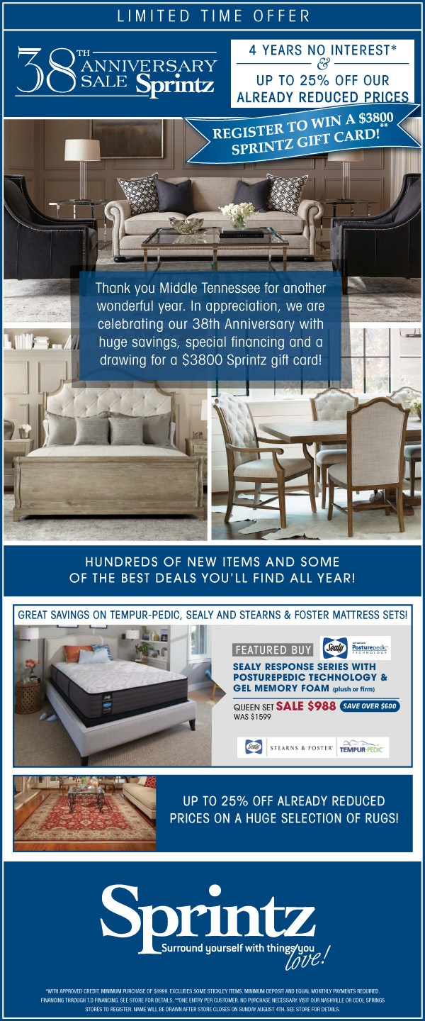 Sprintz Furniture Current Furniture Promotions Nashville