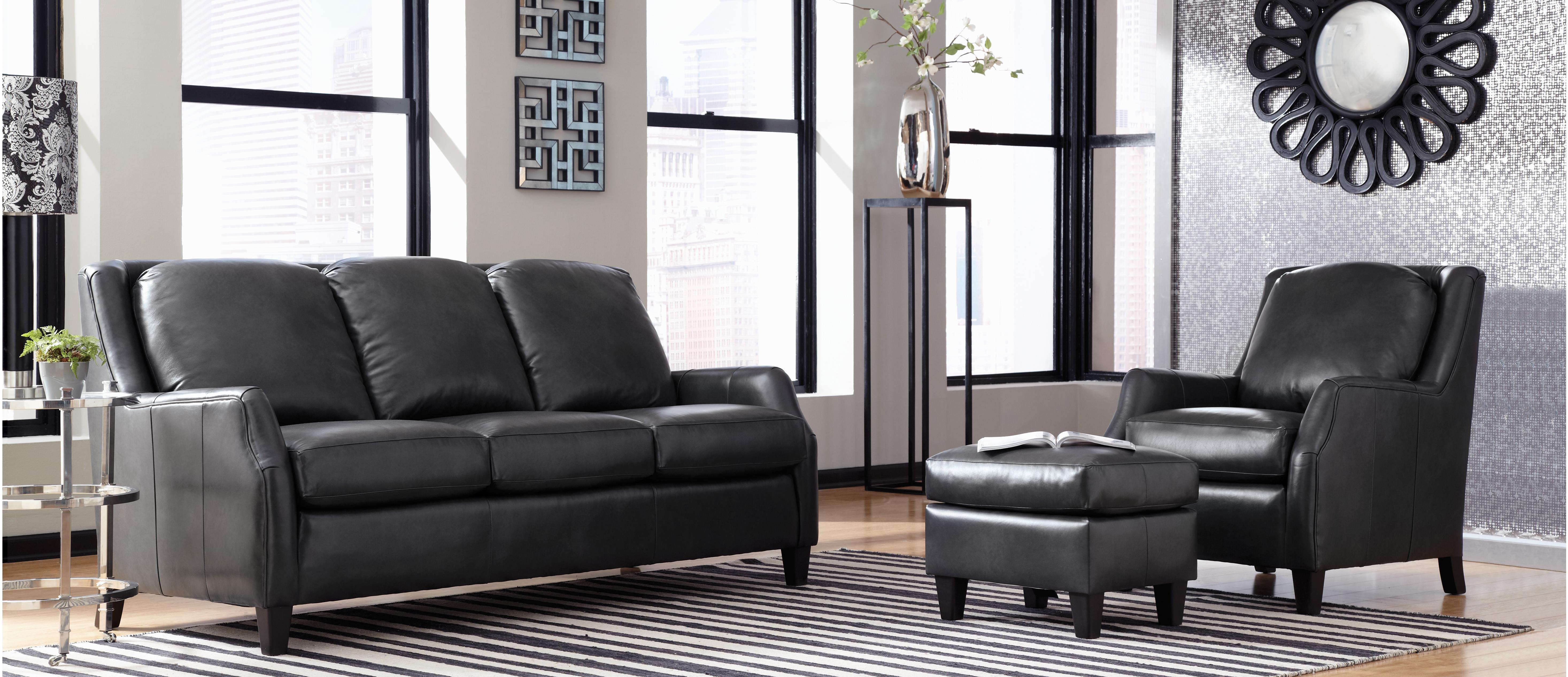 Black Sofa with Chair and Ottoman
