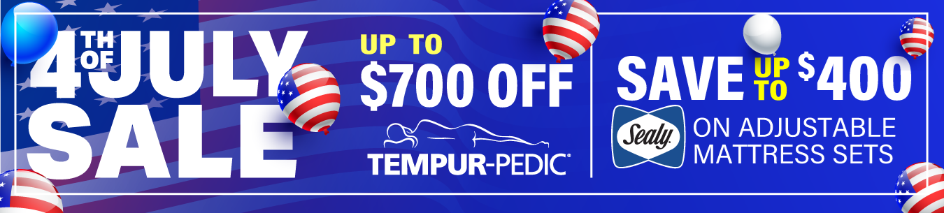fourth of july up to $700 off tempurpedic - save up to $400 on sealy adjustable mattress sets