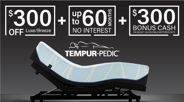 Get a better nights sleep with the best deals and biggest brands in sleep. Tempur-Pedic, Seally, and Stearns and Fosters.