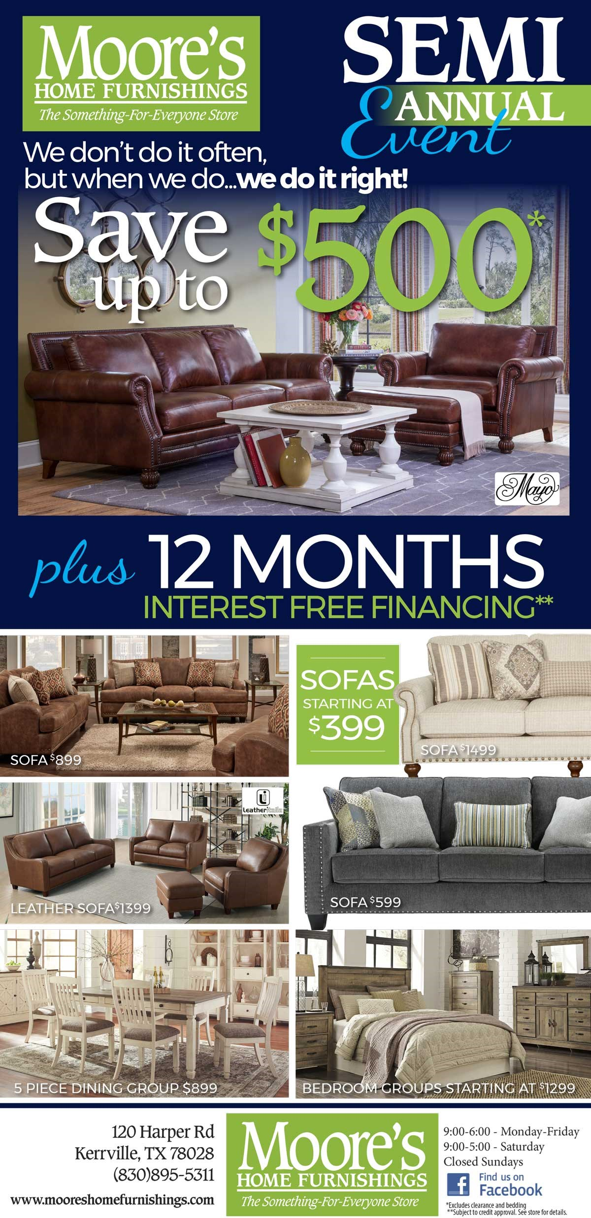Save up to $500 plus 12 months interest free financing.