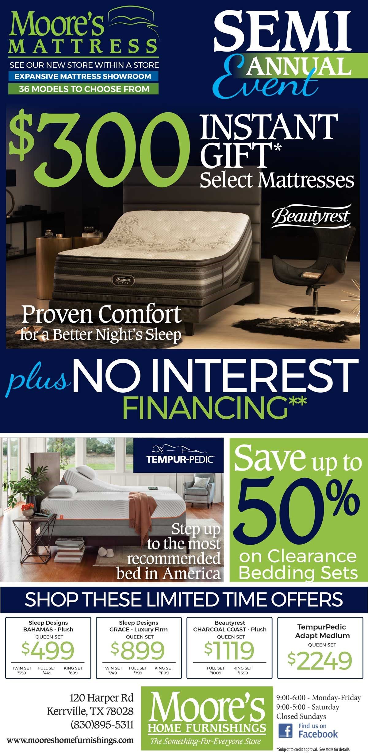 $300 Instant gift on select mattresses plus interest free financing.
