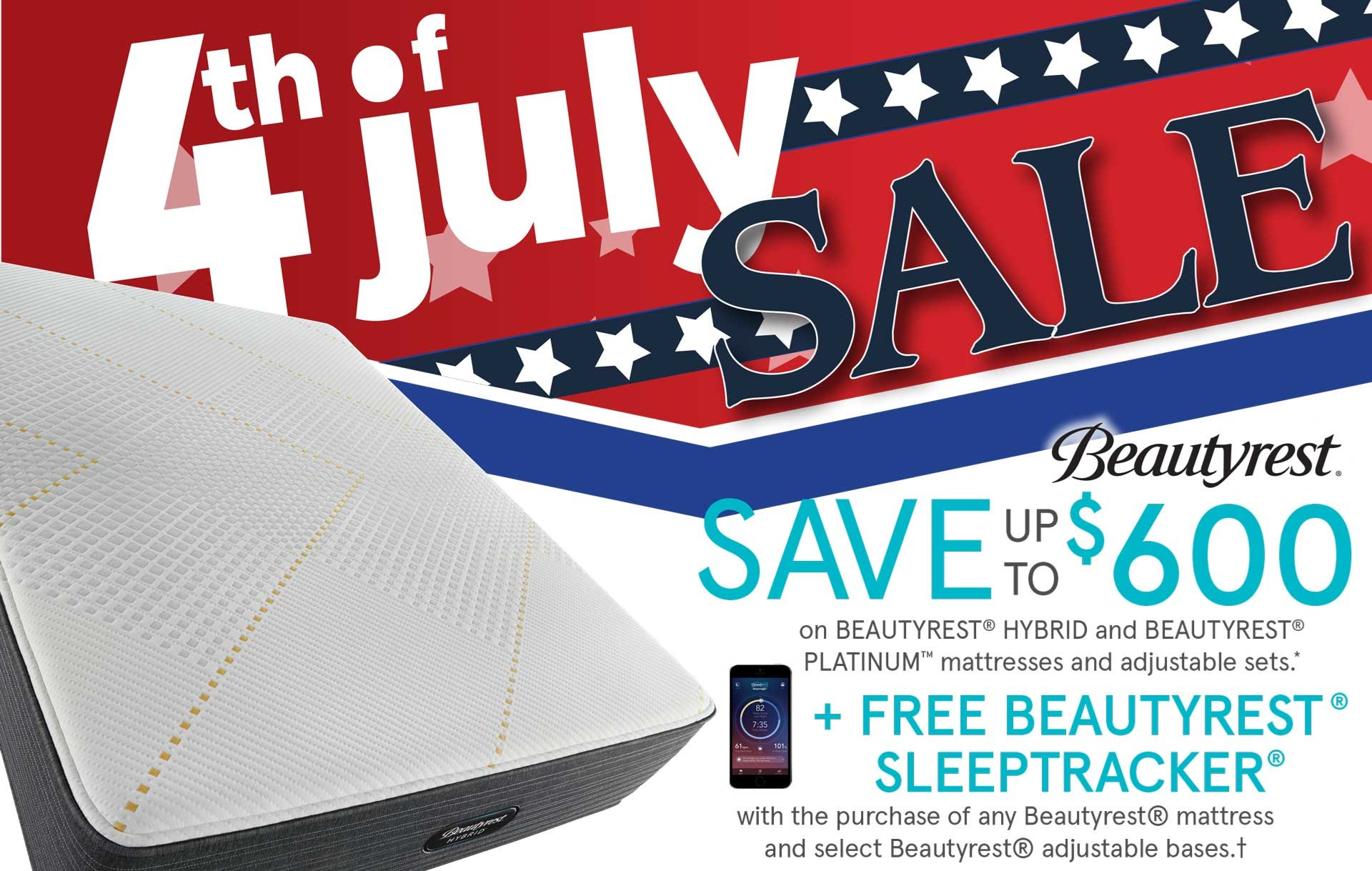 July 4th Sale! Up to $600 off select Beautyrest