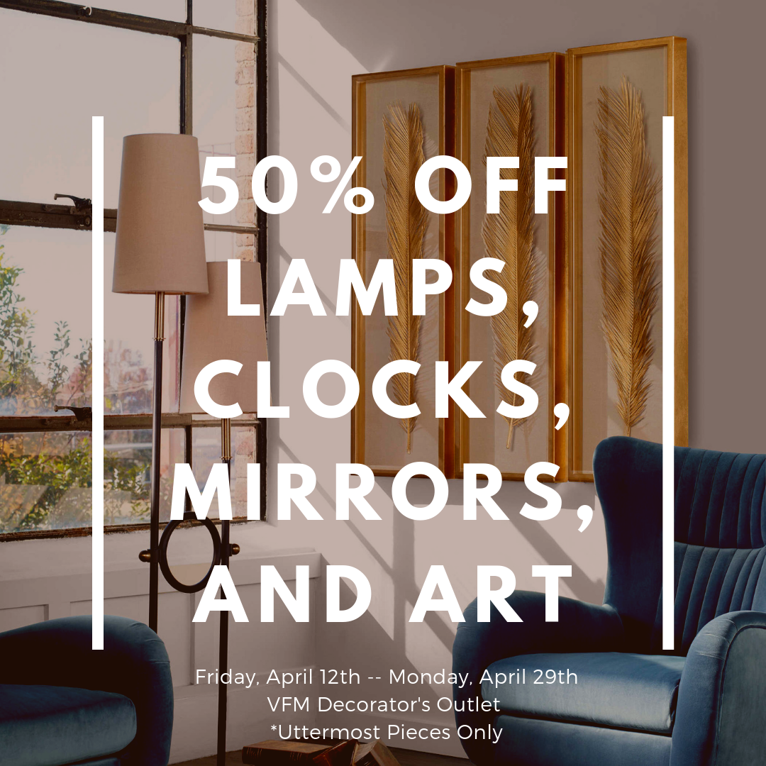 50% off lamps clocks mirrors and art