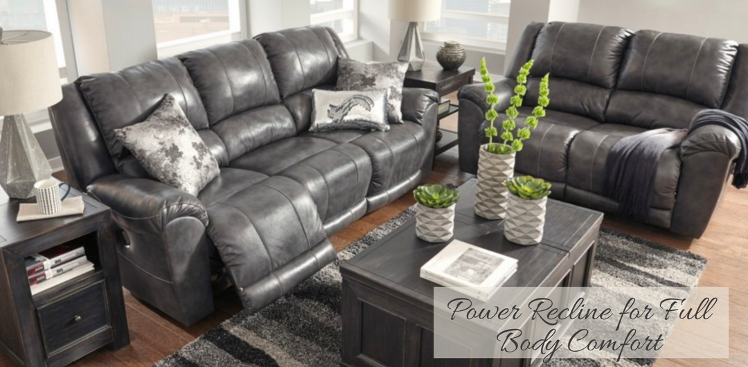 leather power recline sofa loveseat