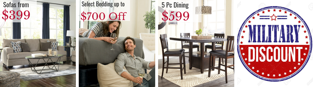 Memorial Day Savings at Virginia Furniture Market. Military Discount. Save on Sofas, Couches, Living Room, Dining Room, Sealy, Stearns & Foster, Sealy Mattresses