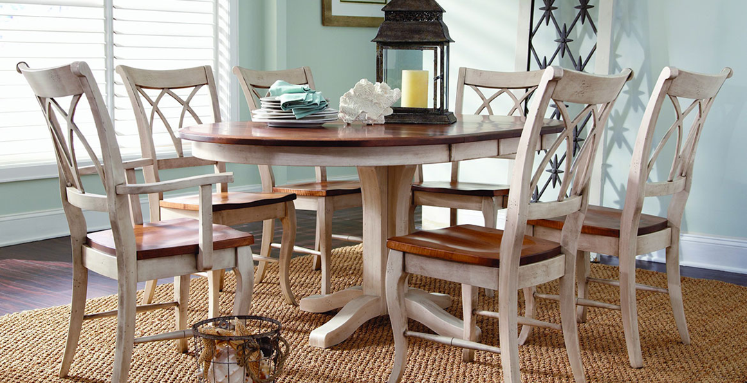 White and brown two toned dining room table and 6 chairs