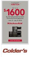 KitchenAid Culinary Ambition - Get up to $1600 by mail with purchase of select KitchenAid brand appliances.