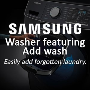 Samsung washer featuring Add wash: easily add forgotten laundry.