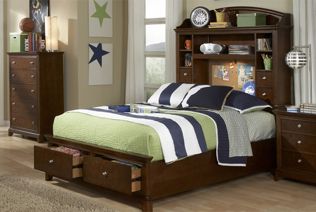 Maximize space in a small room with a storage headboard AND storage footboard! Versatile for boys and girls.