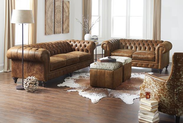 Based off of the Chesterfield style, this collection is traditional, yet has the low back of contemporary styles.