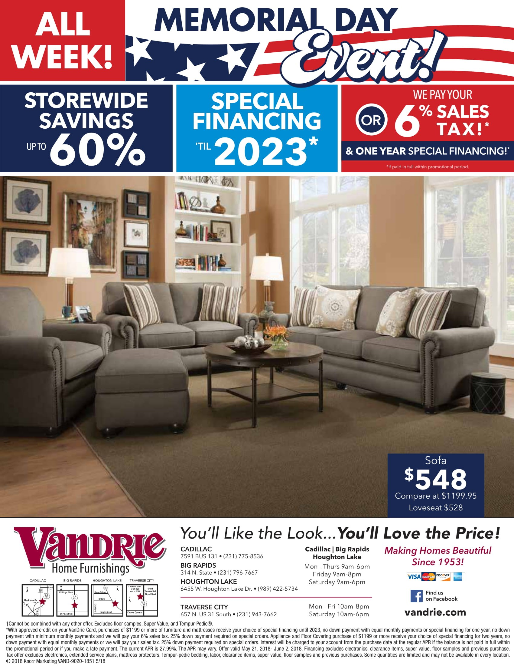Living Room Furniture Vandrie Home Furnishings Cadillac